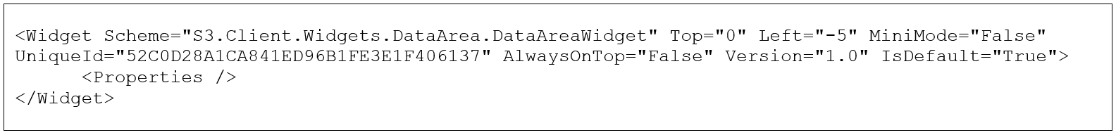 Example Canvas.xml entry for the Lawson Data Area widget