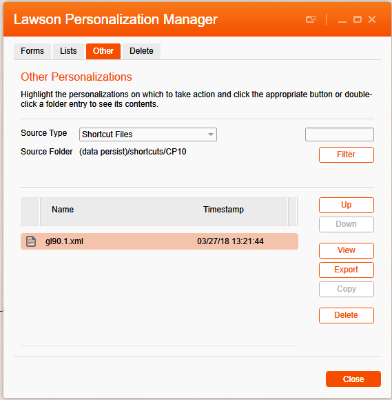 Shortcut Files in Personalization Manager